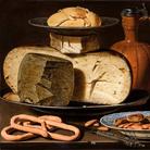 Clara Peeters (Anversa, 1594 - ...), Natura morta con formaggi, mandorle e pretzel, 1615, Olio su pannello, 49.5 x 34.5 cm,Museo del Prado, Madrid