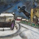 Marc Chagall, Sopra Vicebsk. Gouache, grafite, e matita colorata su cartone, cm 51,5x64,3. Lascito Anna Salzmann allo Stato di Israele. In prestito permanente dall'Amministratore generale dello Stato di Israele © Chagall ® by SIAE 2015