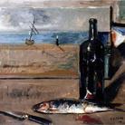 Filippo de Pisis, Pesce, bottiglia di vino e coltello su tavolo, olio su tela, 53 x 63 cm. Collezione privata