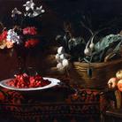 Giacomo Liegi, Cesta con verdura, vaso di fiori e fragoline, 114x172 cm, Collezione privata