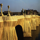 Christo and Jeanne-Claude, The Pont Neuf Wrapped (Project for Paris), Drawing in 2 parts 1975-1985, 40,876 square meters of woven polyamide fabric and 13 km of rope | Volfgang Volz © Christo 1985