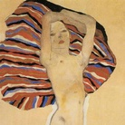 Egon Shiele, Nudo su tessuto colorato, 1911