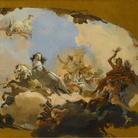 Giovanni Battista Tiepolo, Apollo conduce al genio della Nazione germanica Beatrice di Burgundia, Schizzo a olio per l'affresco del soffitto nella sala imperiale della residenza di Würzburg, 1751, Olio su tela, 106.5 x 65.3 cm</