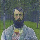 Cuno Amiet, Autoritratto con mela (Selbstbildnis mit Apfel), 1902-1903, olio su tela, 54 x 64.5 cm, Collezione privata (in deposito al Kunstmuseum Solothurn)