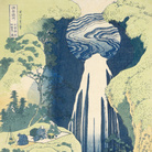 Katsushika Hokusai, La cascata di Amida in fondo alla via di Kiso, dalla serie Viaggio tra le cascate giapponesi, 1832-1833 circa, Silografia policroma, 38.7 x 25.9 cm, Honolulu Museum of Art | Courtesy of Palazzo Reale, Milano 2016