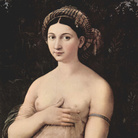 Raffaello Sanzio, La Fornarina, 1518-1519, Ritratto di Margherita Luti, amata e modella, figlia di un fornaio romano, Olio su tavola, 60 x 85 cm, Palazzo Barberini, Roma