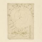Leonardo da Vinci (1452-1519), Codice Atlantico (Codex Atlanticus), foglio 199 verso, In alto, planimetria della città di Milano con l'indicazione delle sue porte, In basso, veduta a volo d'uccello della città di Milano  © Veneranda Biblioteca Ambrosiana / Mondaori Portfolio