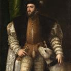 Tiziano Vecellio (Pieve di Cadore, 1488/1490 - Venezia, 1576) , Ritratto di Carlo V con il cane, 1533, Olio su tela, 111 x 192 cm,Museo del Prado, Madrid
