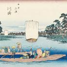 Utagawa Hiroshige, 3 – Kawasaki. Il traghetto di Rokugô, Dalla serie Cinquantatré stazioni di posta del Tôkaidô, 1848-1849 circa,Silografia policroma, 25 x 37.2 cm, Honolulu Museum of Art | Courtesy of Palazzo Reale, Milano 2016