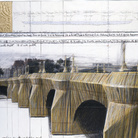 Christo and Jeanne-Claude, The Pont Neuf Wrapped (Project for Paris), Drawing in 2 parts 1985, 15 x 65