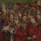 Jan e Hubert van Eyck, L'Adorazione dell'Agnello Mistico, 1432, Dettaglio del pannello centrale della Pala d'altare di Gand aperta con i Religiosi in preghiera, Dopo il restauro, Olio su tavola, Gand, Cattedrale di San Bavone | Courtesy of Saint-Bavo's Cathedral Ghent © Lukasweb.be-Art in Flanders vzw | Photo: KIK-IRPA