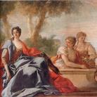 Giovanni Antonio Pellegrini, Ritratto di dama in un giardino e le ancelle al pozzo, 1719, Olio su tela, 310 x 184 cm