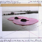 Christo, Surrounded Island, Biscayne Bay, Greater Miami, Florida, Collage 1982 28 x 35,5 cm, Pencil, photography by Wolfgang Volz, enamel paint, charcoal, wax crayon and tape | Photo Eeva-Inkeri © Christo 1982
