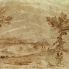 Giovanni Francesco Barbieri, detto il Guercino (Cento, 1591 - Bologna, 1666), Paesaggio con figure, 1620-1630 circa, Inchiostro su pergamena, Cento, Pinacoteca Civica