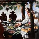 Pittore fiorentino della metà del '600, Donna che imbandisce tavola, olio su tela, 132 x 174 cm. Collezione privata