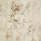 Leonardo da Vinci (Vinci, 1452 - Amboise, 1519), Teste e figure a mezzo busto, viste di profilo. Madonna che allatta il Bambino contro un paesaggio, con san Giovannino. Figura maschile stante. Teste di leone. Un drago (recto) / Teste e figure a mezzo busto, una delle quali tagliata a tre quarti (verso), 1478 circa, Penna e due diversi inchiostri bruni, 290 x 405 mm, Castello di Windsor, Royal Library, The Royal Collection Trust, inv. RCIN 912276 (concesso in prestito da Sua Mae