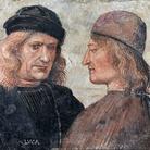 Luca Signorelli (Attribuito), Autoritratto e ritratto di ser Niccolò di Angelo (Franchi), 1504 circa, Affresco su lastra in laterizio, Recto, 40 x 32 cm, Orvieto, Museo dell'Opera del Duomo