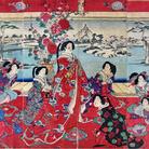 Yoshu Chinkanobu (1838 - 1912), Passatempi di beltà femminili in un giorno nevoso, Trittico di xilografie policrome in formato oban, 705 x 355 mm, Firmato Il pennello di Yoshu Chikanobu