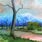 Paolo Salvati, Strada di campagna, 1988. Olio su tavola, cm 24,3 x 30,5