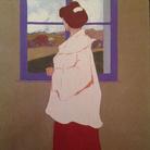 Umberto Boccioni, Donna di spalle davanti ad una finestra, 1907-1908, Illustrazione per il Touring Club, Tempera su carta, 29.7 x 37 cm, Roma, Galleria Russo