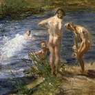 Beppe Ciardi, Il bagno o Ragazzi sul fiume, 1899, Olio su tavola, 56 x 36 cm, Voghera, Collezione privata