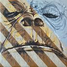 Simone Fugazzotto, BROWN STRIPES AND GRAY EYE, 50 x 50 cm, Olio su tela di lino | Courtesy of Simone Fugazzotto e Fondazione Maimeri