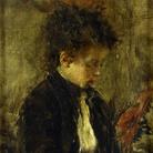 Antonio Mancini (Roma, 1852 - 1930), Modellina, 1874-1880, Olio su tela, 27 x 41 cm