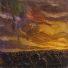 Plinio Nomellini, Allegoria della Vittoria sull'esercito in marcia. Olio su tela, 510x510 mm.