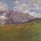 Gugliemo Ciardi, Mattino alpestre (Sorapis), 1894 circa, Olio su tela, 300 x 150 cm, Venezia, Istituto Veneto di SS.LL.AA. – V.I.C.