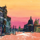 Geoffrey Humphries, Sunset, Salute from Accademia, 2010, Acquerello su carta, 37 x 27 cm | Courtesy of the Artist and The Osborne Studio Gallery, London