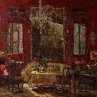 Emma Ciardi, Interno studio rosso, 1922 circa, Olio su tela, 70 x 76 cm, Collezione privata