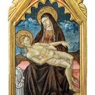 Luca di Paolo, Stendardo processionale: Pietà e due confratelli. Tempera e oro su tavola. Galleria Nazionale dell'Umbria, Perugia (PG)