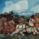 Antonio Ligabue, Diligenza con paesaggio e villa di Casanova Rambelli, olio su tavola di faesite, 1953-1954, 68x95 cm
