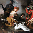 Pieter Boel, Moretto con pavone, giovane con uva e cacciagione, olio su tela, 135 x 172 cm. Collezione privata