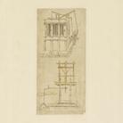 Leonardo da Vinci (1452-1519), Codice Atlantico (Codex Atlanticus), Foglio 1099 recto, Architettura con fontana all'interno   © Veneranda Biblioteca Ambrosiana / Mondaori Portfolio