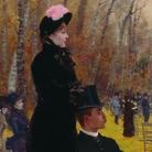 Giuseppe De Nittis, Alle corse di Auteuil - Sulla seggiola, 1883, Olio su tela, 55.5 x 107 cm, Barletta, Pinacoteca Giuseppe De Nitt