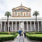 Facciata della Basilica di San Paolo fuori le Mura a Roma, Durante le riprese del film