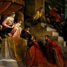 I Rettori di Vicenza Silvano Cappello e Giovanni Moro davanti alla Madonna in trono tra i santi Marco e Vincenzo