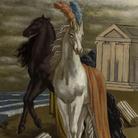 Giorgio de Chirico, Le cheval d'Agamèmnon (due cavalli sulla spiaggia), 1929, Olio su tela, Collezione Merlini Busto Arsizio | © Collezione Merlini Busto Arsizio | © Fondazione Giorgio e Isa de Chirico, Roma
