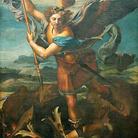 Raffaello Sanzio, San Michele sconfigge Satana, 1518, Olio su tavola, 160 x 268 cm, Museo del Louvre, Parigi