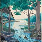 J. R. R. Tolkien, Bilbo comes to the Huts of the Raft-elves   © The Tolkien Estate Limited 1937   Un acquerello che Tolkien dipinse come illustrazione per la prima edizione de Lo Hobbit, pubblicato nel 1937, poi incluso in numerose altre edizioni del libro. Questo era l'acquerello preferito di Tolkien, che fu deluso dal constatarne l'esclusione dalla prima edizione americana dell'opera.