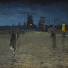 Charles Angrand, Il Ponte di Pietra a Rouen, 1881, Olio su tela, 124 x 80 cm, Collection Association Peindre en Normandie, Caen