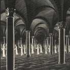 Maurits Cornelis Escher, Processione nella cripta, 1927, Xilografia, 44.2 x 60.4 cm, Collezione privata, Italia | All M.C. Escher works © 2019 The M.C. Escher Company | All rights reserved www.mcescher.com