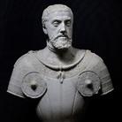 Giovanni Angelo Montorsoli, Busto di Carlo V, Marmo, H 63 cm, Con retroproiezioni delle otto scene della Presa di Tunisi (Arazzi KHI Vienna), Napoli Museo della Certosa di San Martino