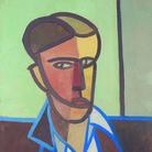 Tancredi Parmeggiani, Senza titolo (Autoritratto), 1948, Tempera su carta da spolvero, 46.5 x 62 cm, Collezione Facchin, Feltre