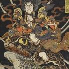 Utagawa Kuniyoshi, Tenjiku Tokubei (Tenjiku Tokubei), Serie senza titolo di stampe di guerrieri pubblicate da Kawaguchi, Circa 1826-27, Silografia policroma (nishikie), 26.5 x 39 cm, Masao Takashima Collection