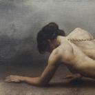 Roberto Ferri, IL CAMMINO DELLA FEDE, 2018, Olio su tela, 88 x 34 cm | Courtesy of Roberto Ferri e Fondazione Stelline