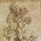 Parmigianino (1503 - 1540), Autoritratto con cagna gravida, 1530, Disegno
