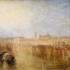 Joseph Mallord William Turner, Venice Quay, Ducal Palace, Esibito nel 1844, Olio su tela, 927 x 622 mm , Tate, Accepted by the nation as part of the Turner Bequest 1856 | Courtesy of Chiostro del Bramante 2018