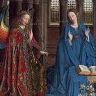 Jan van Eyck, L'Annunciazione, 1434-1436 circa, Olio su pannello, Trasferito su tela, 92.7 x 36.7 cm, National Gallery of Art, Washington, Collezione Andrew W. Mellon